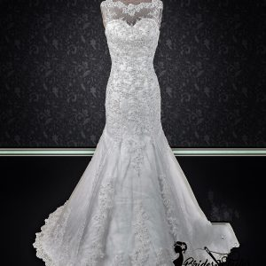 lace neckline bridal gown