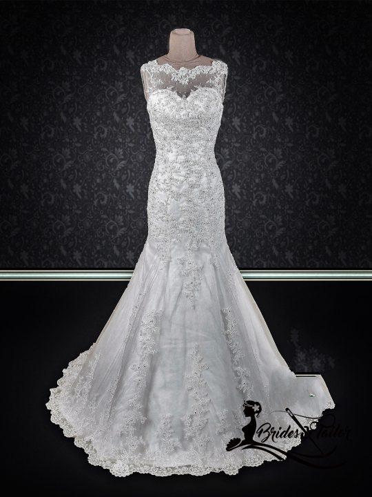 lace neckline bridal gown