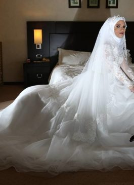 This beautiful Hijab Wedding Dress was custom made for our Bride Carole. Made of beautiful lace details that add to its elegance and beauty.