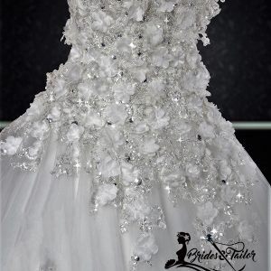 white florals bridal gowns