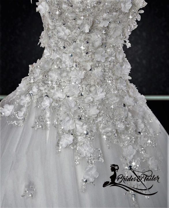 white florals bridal gowns