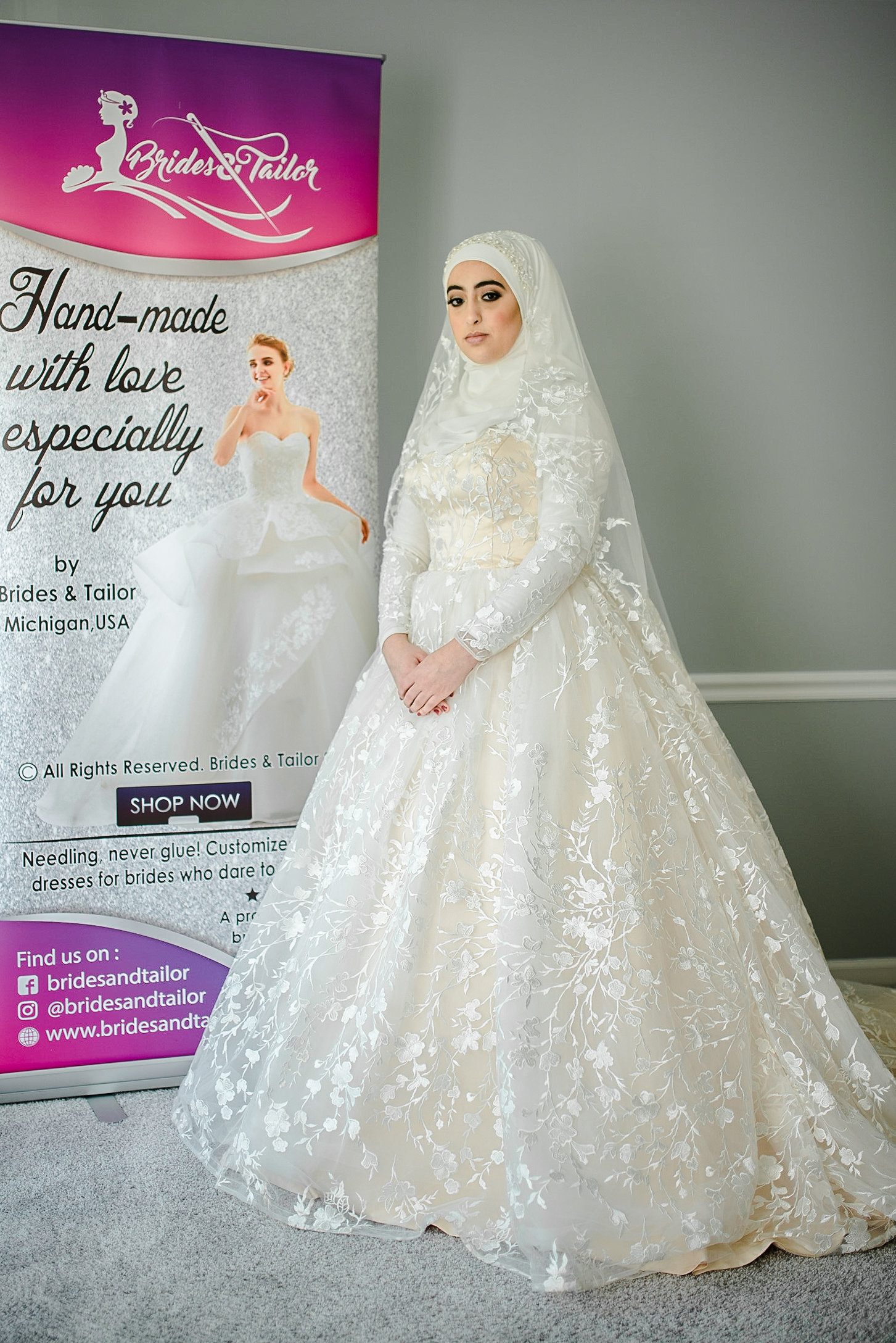 Hijab Wedding Dress With Long Sleeves By Brides And Tailor