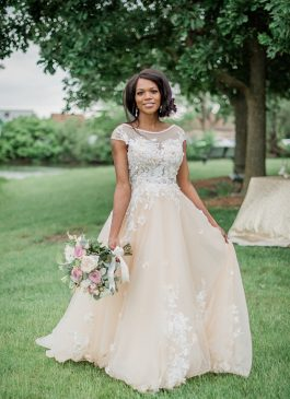 custom made champagne wedding dress