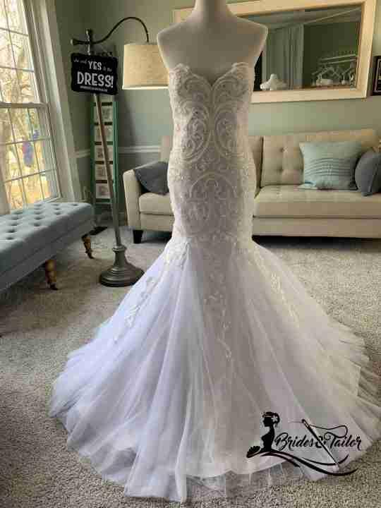 Hand beaded mermaid wedding dress