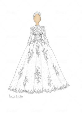 Wedding dress sketch hijab