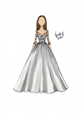 Wedding Dress Sketch by Brides & Tailor