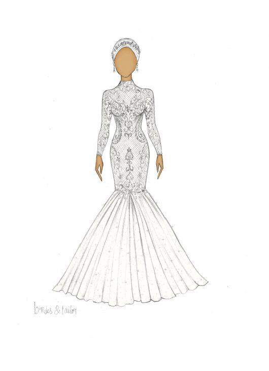 Hijab wedding dress sketch