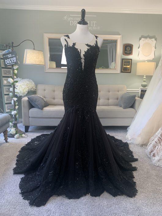 black wedding dress with illusin back
