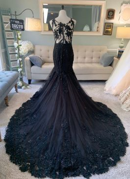 black wedding dress with illusion back
