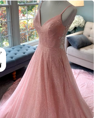 blush wedding dress with sparkles