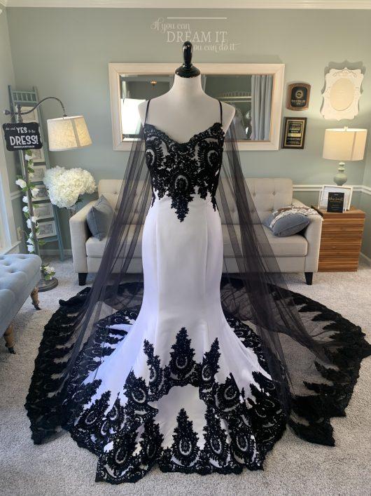 Black wedding dress with cape
