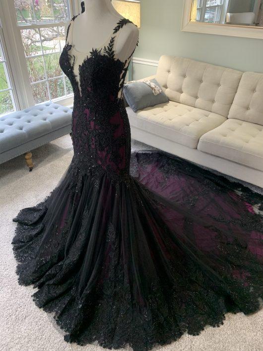 black and purple wedding dress