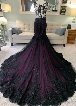 black and purple wedding dress