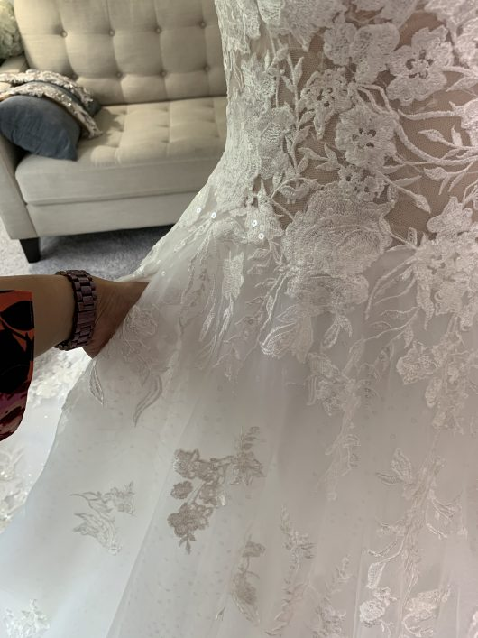 Custom Wedding Dress with Floral Lace and Sparkly tulle